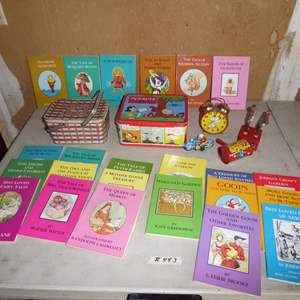 Lot # 443 - Vintage Children's Books, Toys, Snoopy Clock, Lunch Box and Greyhound Bus