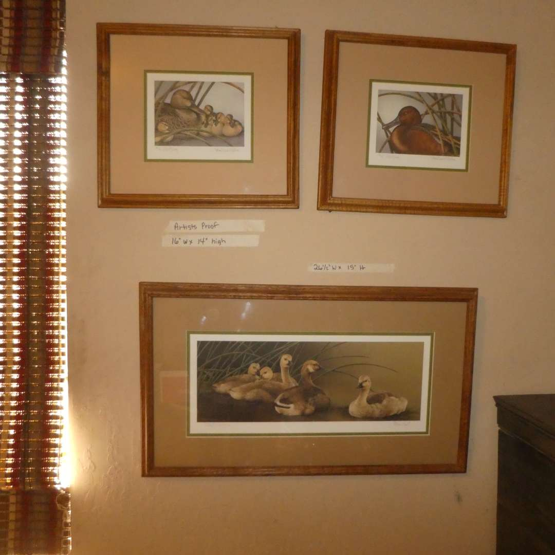 """Lot # 206 - Three Artist Proof Prints By Sherrie Russel Meline """" Teal of Jerome County' & """" Canada Goslings-Big Brother"""" (main image)"""