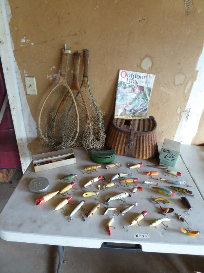 Lot # 445 - Vintage Fishing Lures, Nets, Airex  Reels and Creel Basket (main image)