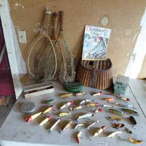 Lot # 445 - Vintage Fishing Lures, Nets, Airex  Reels and Creel Basket