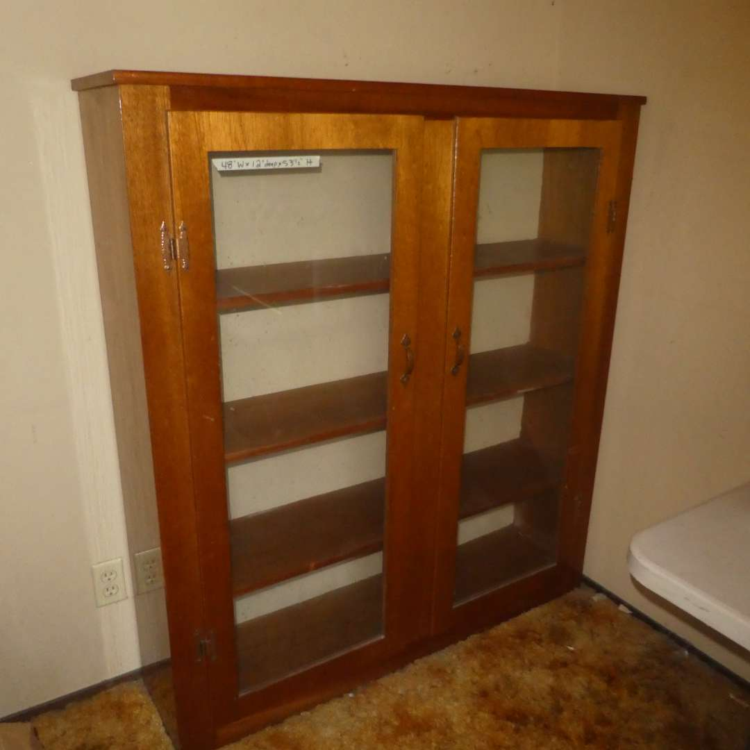 Lot # 220 - Nice Wooden Display Case w/ Glass Doors  (main image)