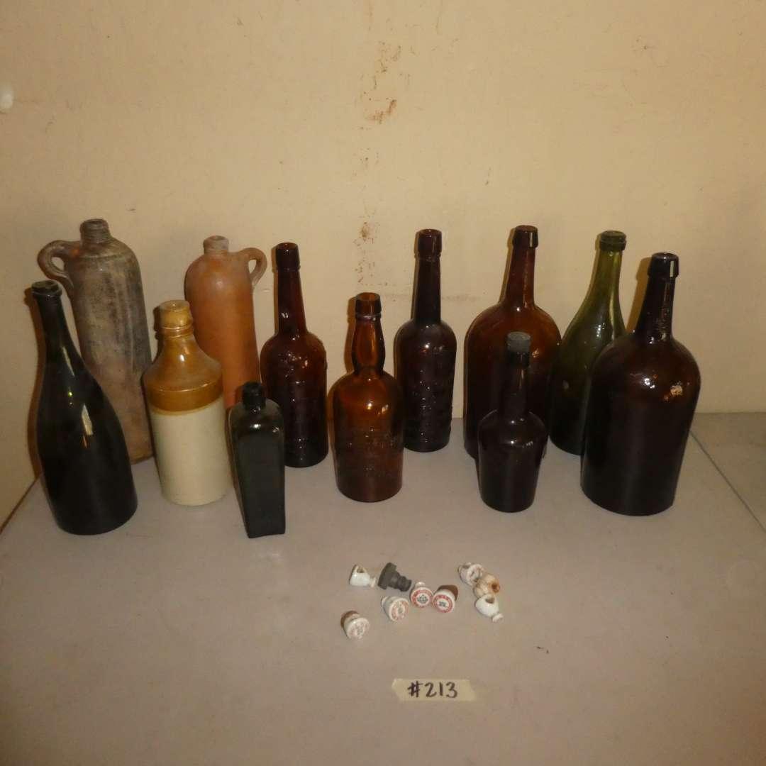Lot # 213 - Antique Bottle Lot (Some Whiskey) (main image)
