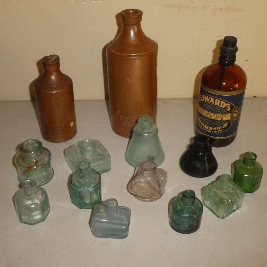 Lot # 215 - Antique Ink Wells and Ink Bottles (main image)