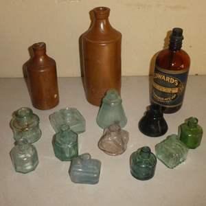 Lot # 215 - Antique Ink Wells and Ink Bottles