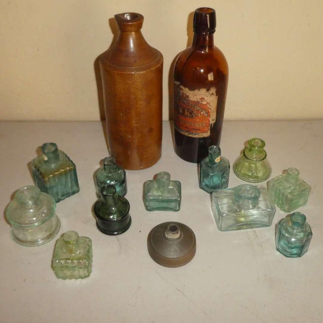 Lot # 216 - Antique Ink Wells and Ink Bottles (main image)