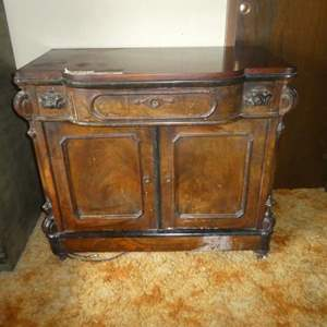 Lot # 217 - Ornate Antique  Solid Wood Cabinet (Dovetail Drawer) (On Casters) (No Key)