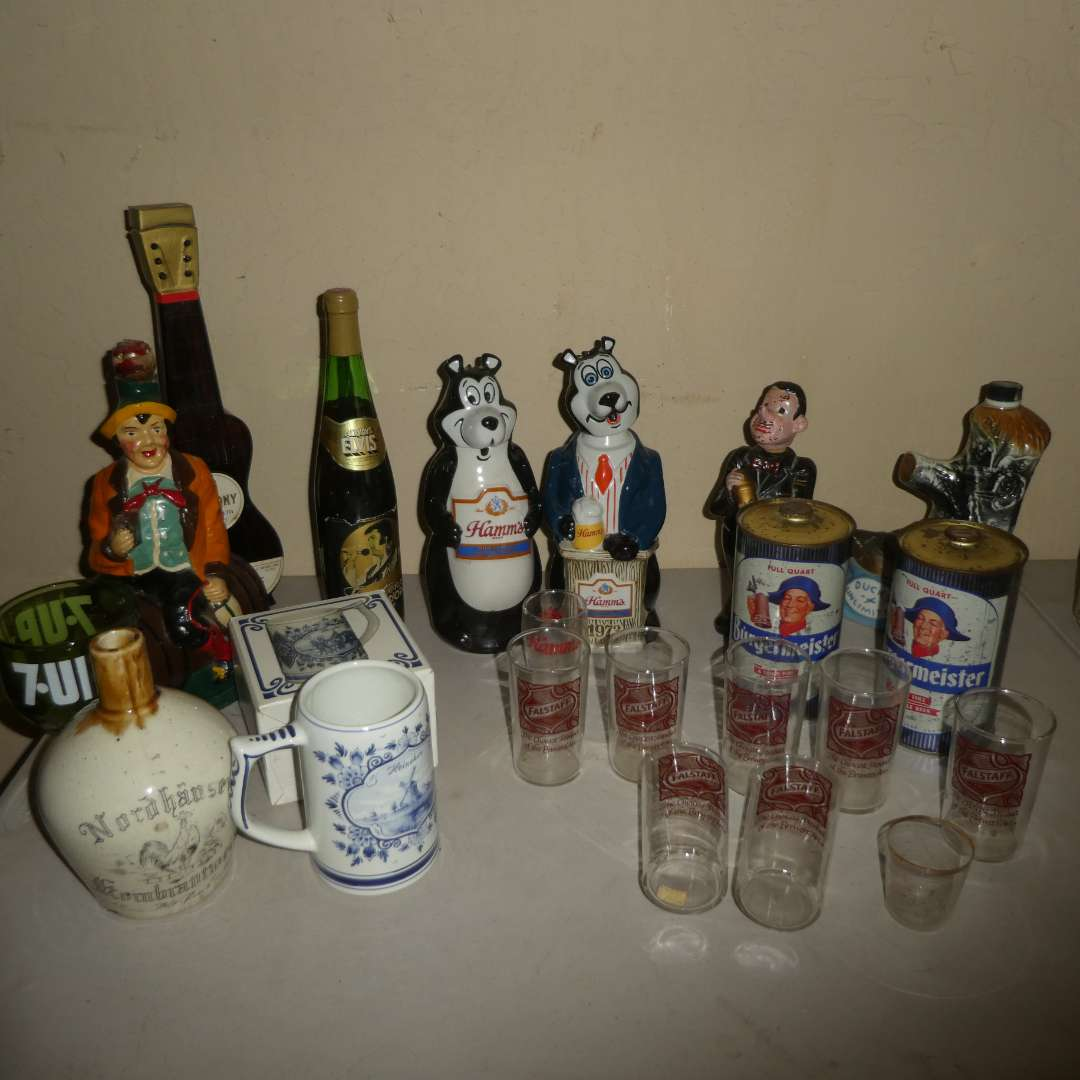 Lot # 218 - Vintage Collectible Decanters, Cups & Cans (main image)