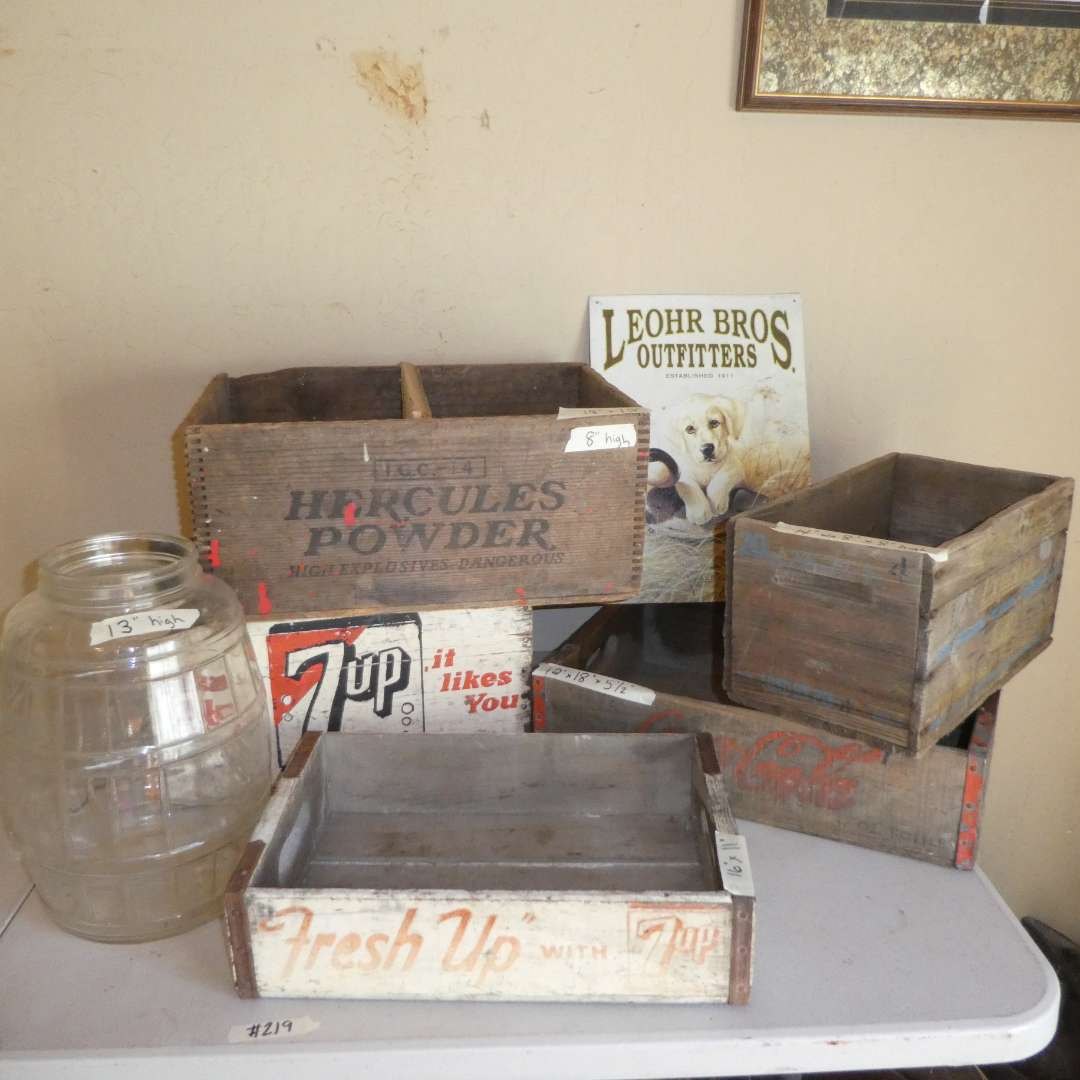 Lot # 219 - Antique/ Vintage Wooden Crates & Pickle Jar (7UP, Hercules Powder, Coca Cola, Remington Express) (main image)