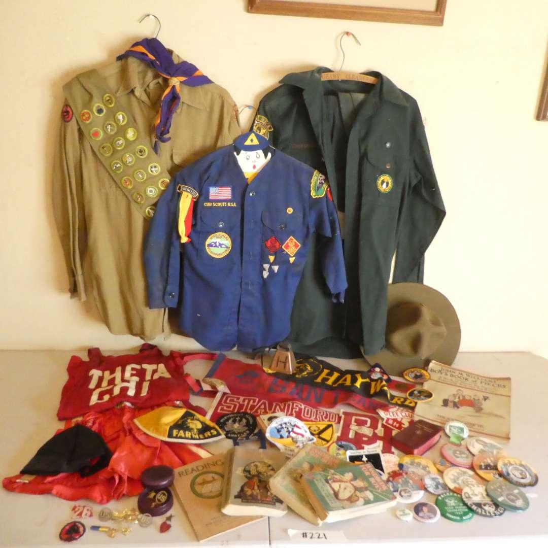 Lot # 221 - Vintage Boy Scout Uniforms/ Memorabilia, School Memorabilia, Collectible Pins and More! (main image)