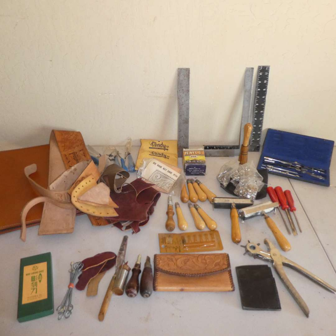 Lot # 223 - Leather Crafting Tools & Materials  (main image)