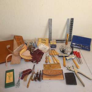 Lot # 223 - Leather Crafting Tools & Materials