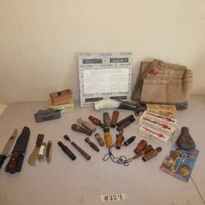 Lot # 224 - Hunting Lot - Variety of Bird Calls, Deer Sack & Knives