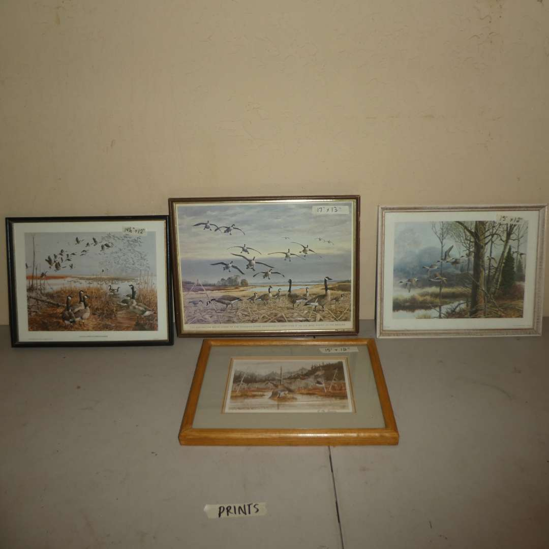 Lot # 228 - Geese & Duck Art Work Prints and Litho (See Photos) (main image)