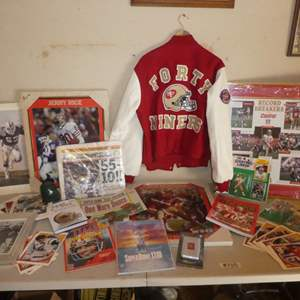 Lot # 230 - Huge 49er's Collectibles Lot! Varsity Jacket w/ Super Bowl Pins, Cards, Newspaper, Framed Posters and More!