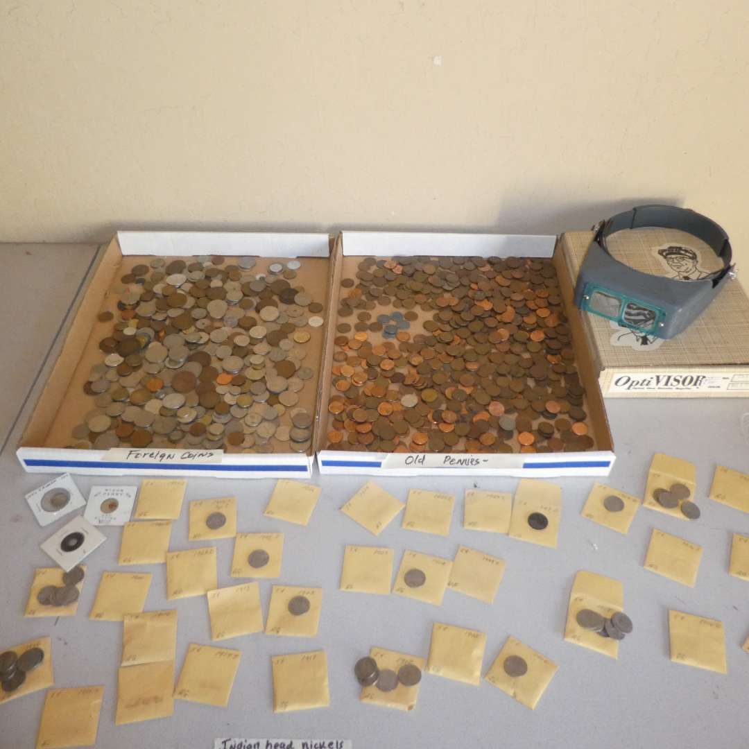 Lot # 237 - Assortment of Buffalo Nickels, Unsearched Foreign Coins & Old Pennies w/ Pair of OptiVisor (main image)