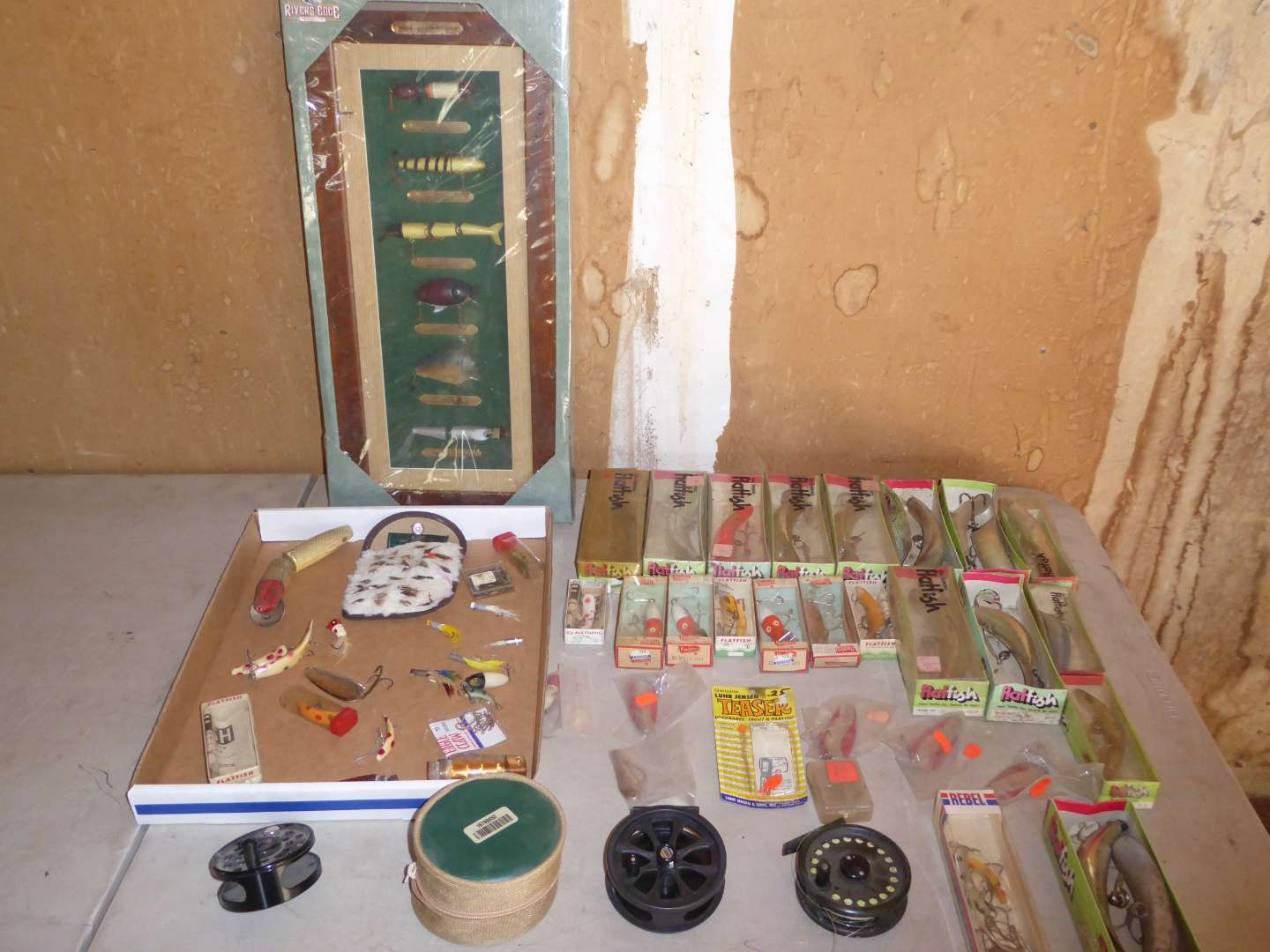 Lot # 453 - Fishing Lures of the 20th Century Display, Variety of Lures & Reel  (main image)