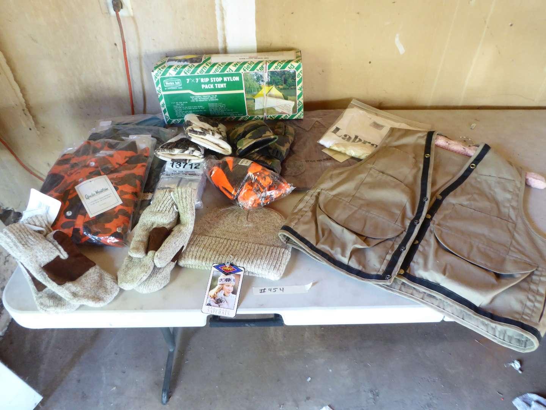 Lot # 454 - Rip Stop Nylon Pack Ten, Mens Vest, Gloves & Other Hunting/Fishing Botton Down Shirts (Large & Mediums) (main image)