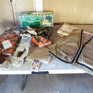 Lot # 454 - Rip Stop Nylon Pack Ten, Mens Vest, Gloves & Other Hunting/Fishing Botton Down Shirts (Large & Mediums)