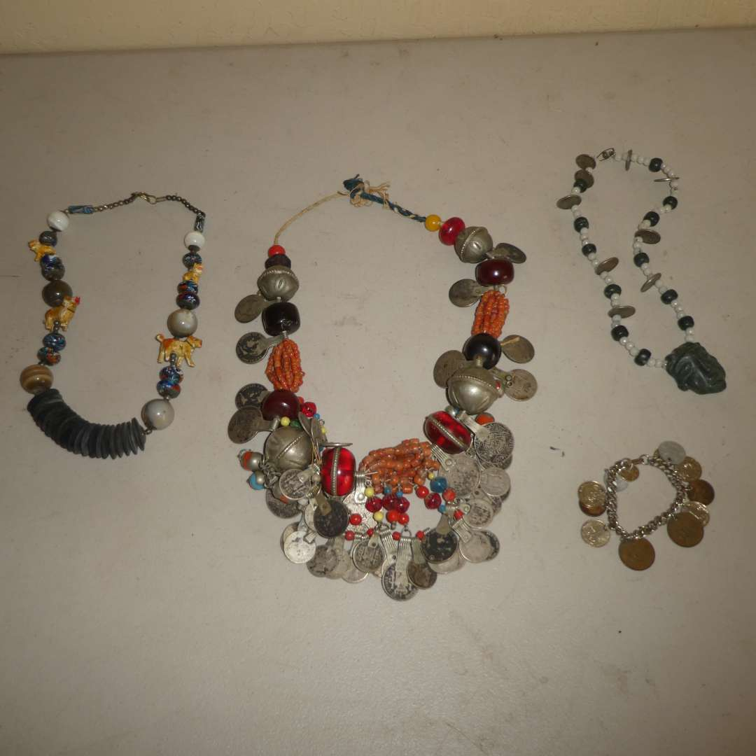 Lot # 242 - Unique Heavy Collectible Coin Necklace and Bracelet w/ Stone/ Beaded Necklaces  (main image)