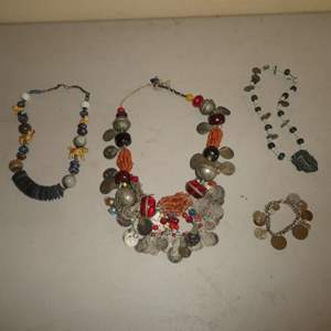 Lot # 242 - Unique Heavy Collectible Coin Necklace and Bracelet w/ Stone/ Beaded Necklaces