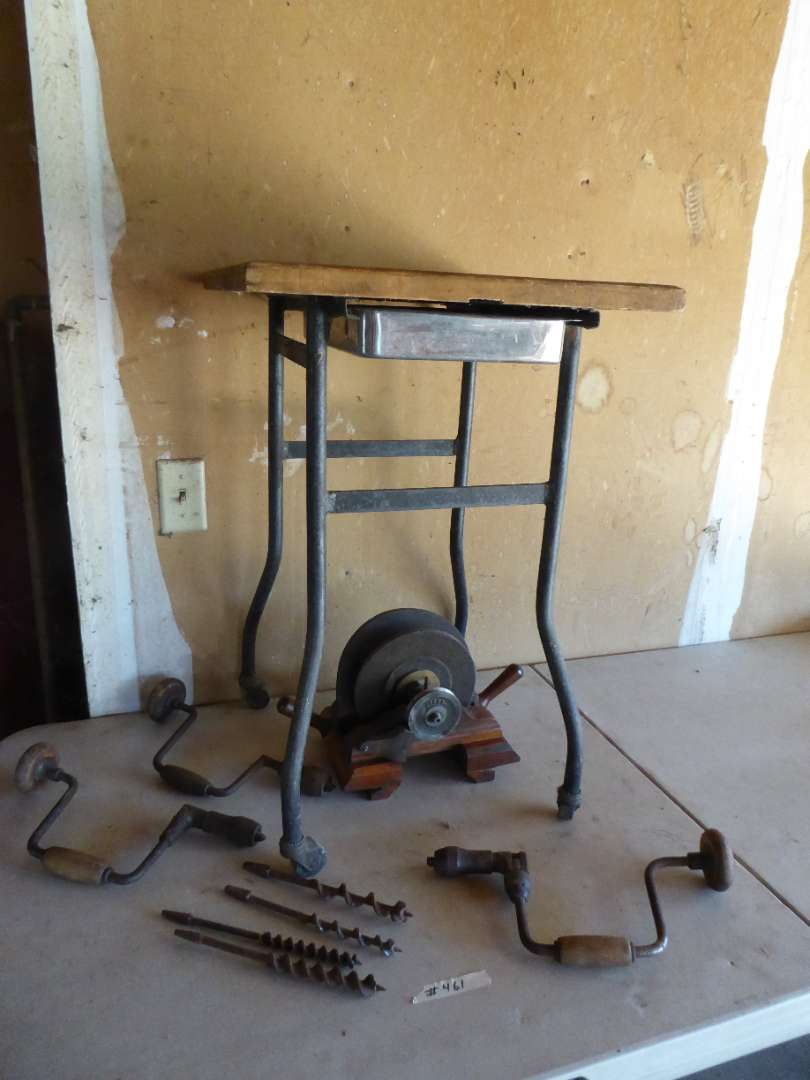 """Lot # 461 - Amazing Antique """"Ideal Jointer"""", Metal Cart on Wheels/Wood Top & Vintage Hand Drills (main image)"""