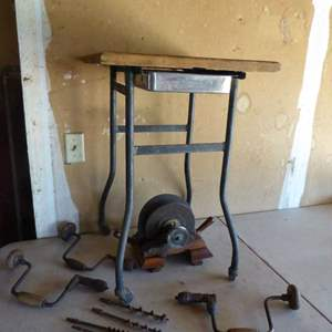 """Lot # 461 - Amazing Antique """"Ideal Jointer"""", Metal Cart on Wheels/Wood Top & Vintage Hand Drills"""