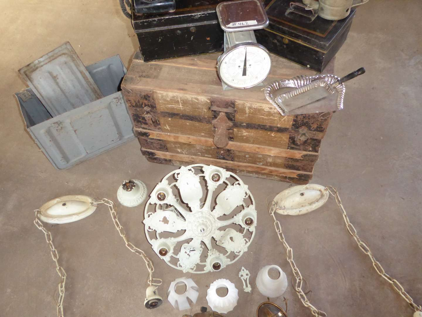 Lot # 462 - Vintage Lot - Trunk, Hanson Scale, Ammo Box, Rotary Phone, Cash Boxes and More! (main image)