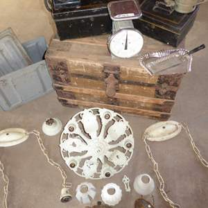Lot # 462 - Vintage Lot - Trunk, Hanson Scale, Ammo Box, Rotary Phone, Cash Boxes and More!