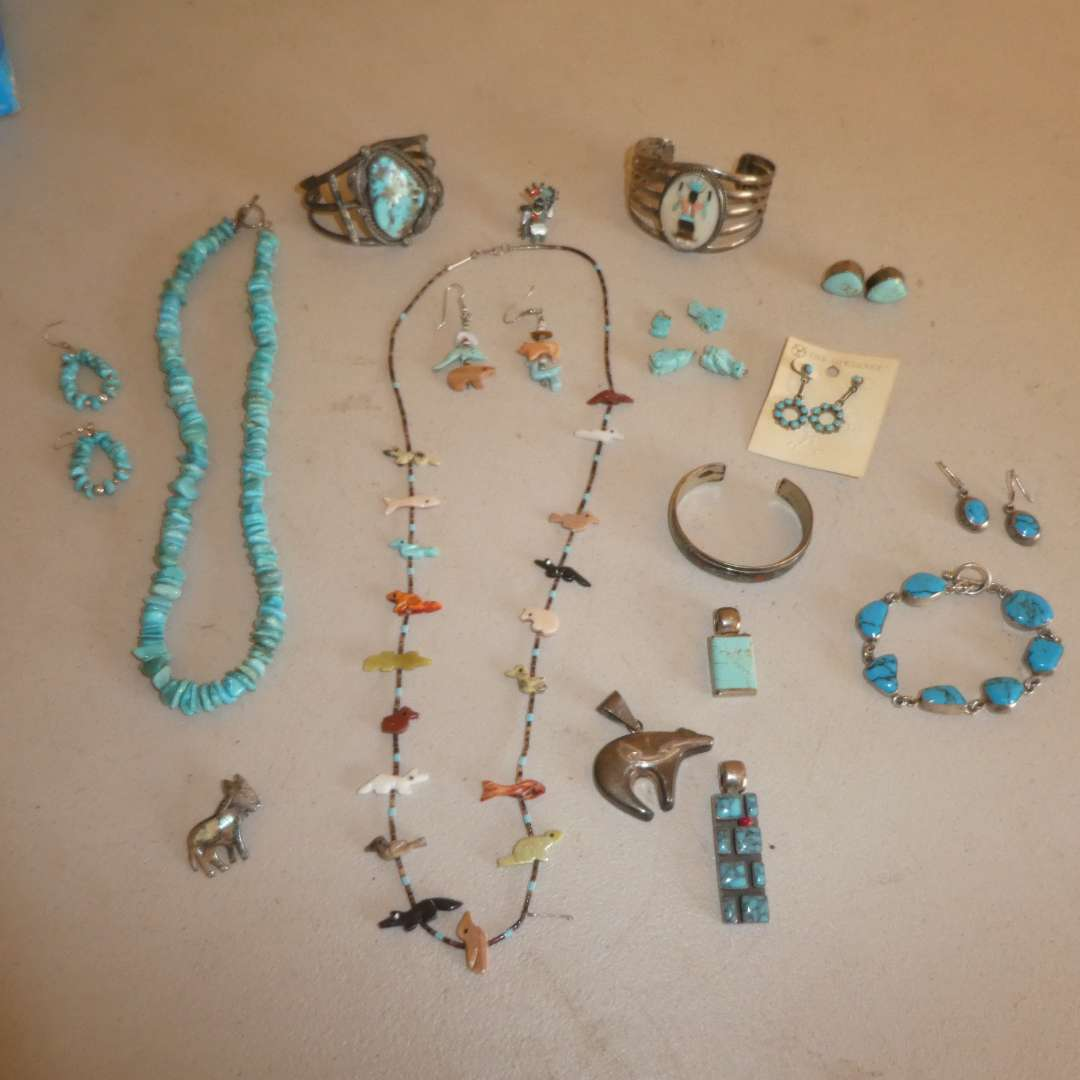 Lot # 243 - Multicolor Fetish Necklace & Earrings, Turquoise & Silver Earrings, Necklaces & Bracelets (Some Marked 925,See pics) (main image)