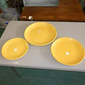Lot # 170 - Three Vintage Bauer Round Yellow Platters