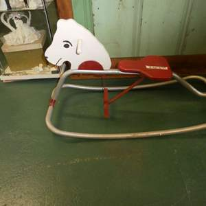 Lot # 87 Antique Wood And Metal Rocking Horse