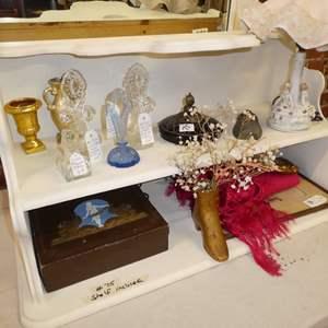 Auction Thumbnail for: Lot # 75 - Unique Shelf. Amazing Vintage Perfume Bottles, Table Lamp, Decorative Round Mirror, Framed Pictures, Misc. Decors