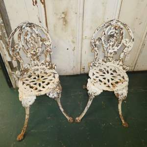 Lot # 309 Two Adorable Vintage Cast Iron Chairs