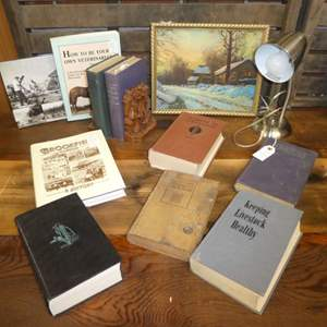 Auction Thumbnail for: Lot # 387 - Vintage/Antique Agriculture Yearbooks, Desk Lamp & Original Painting Of Winter Scene