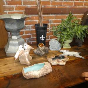 Auction Thumbnail for: Lot # 254 - Large Metal Garden Urn, Ceramic Planters & More
