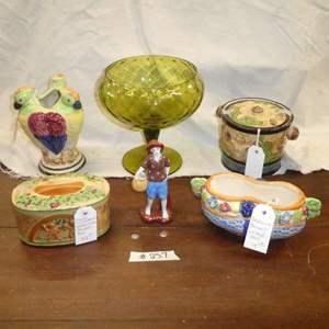 Lot # 257 - Majolica Trinket Box, Majolica Biscuit Jar, Majolica Basket Weave Vase, Parrot Vase Made in Japan & Lg. Green Dish