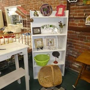 Lot # 260 -  White Shelf w/ Assorted Home Decor & Baskets