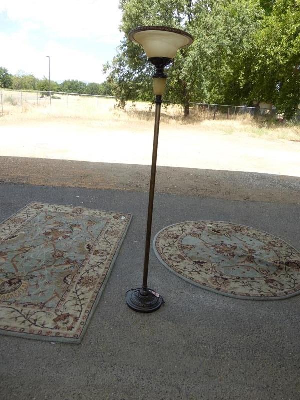 Lot #256 - 2 Matching Floor Rugs & Floor Lamp (main image)