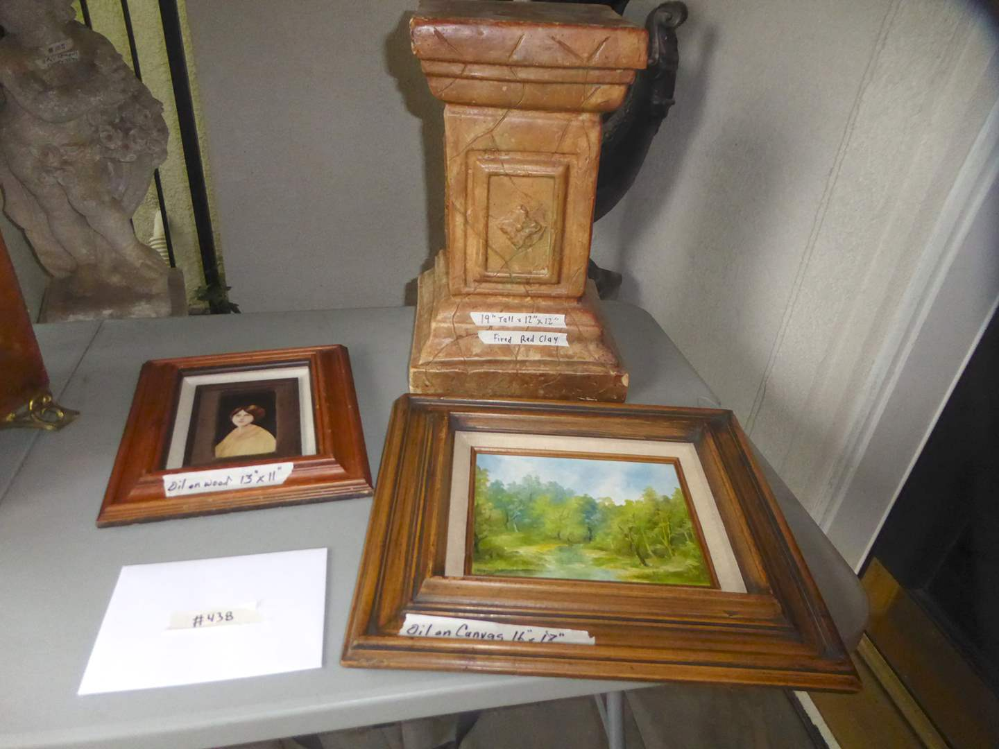 Lot # 438 - Framed Oil On Canvas, Framed Oil On Wood & Fired Red Clay Pedestal  (main image)
