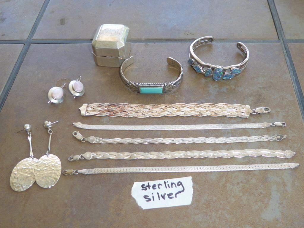 Lot # 305 - Ladies Sterling Silver Bracelets, Earrings & Box (main image)