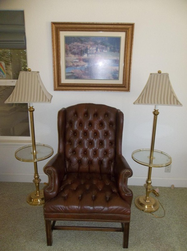 Large Leather Chair, 2 Sturdy Brass Lamps, Art Print (main image)
