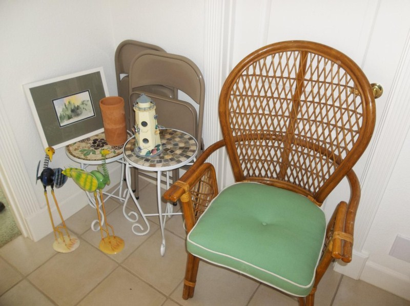 2 Metal Folding Chairs, Rattan Chair, Plant Stands, Watercolor (main image)
