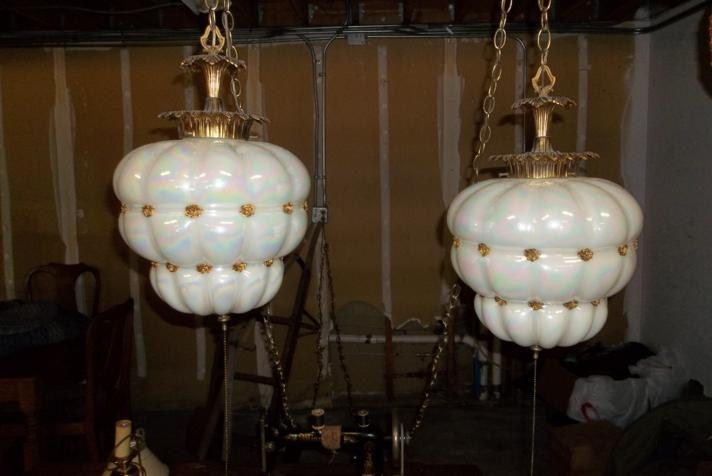 2 Vintage Swag Lamps Opalescent Glass (main image)