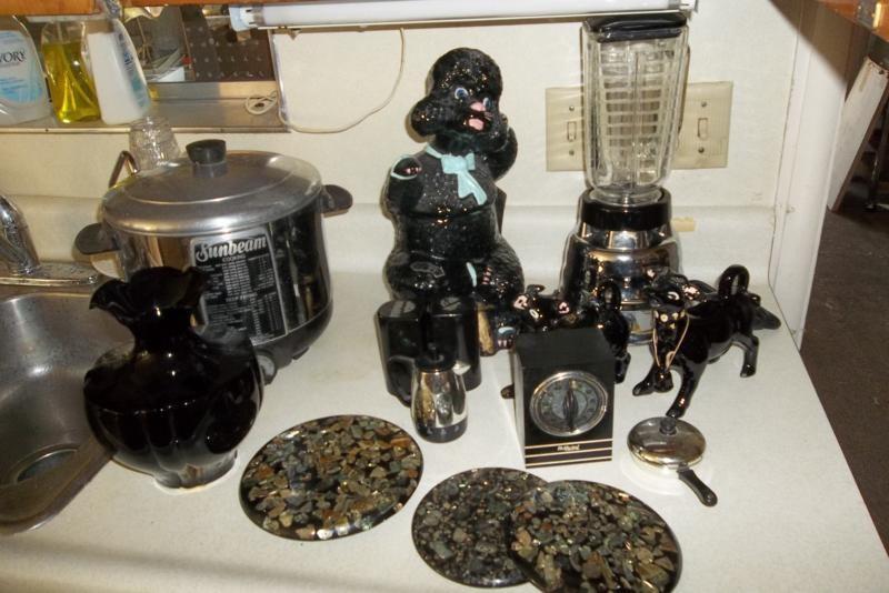 Vintage Poodle Cookie Jar, Cow Creamer & Sugar, Mid Century Kitchen BLACK DECOR   (main image)