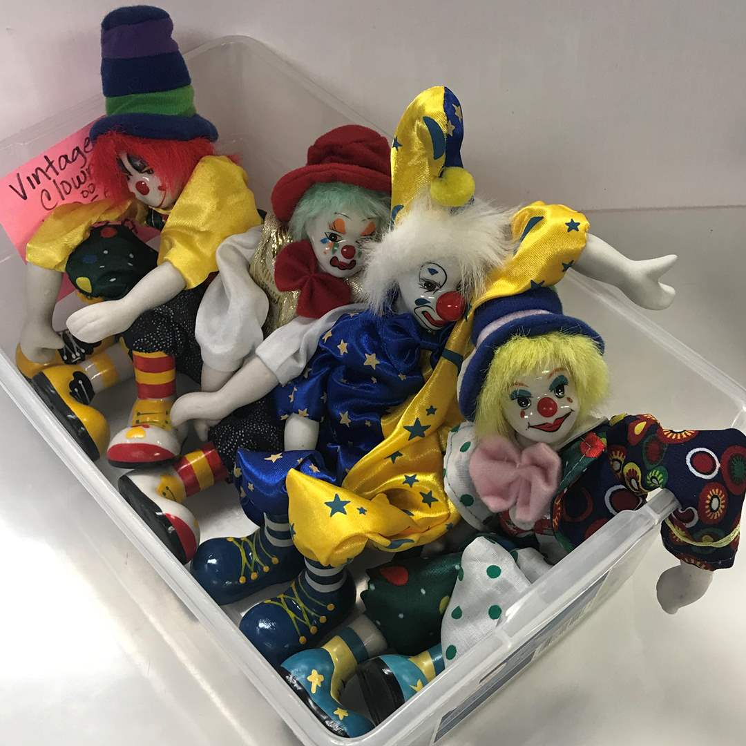 Lot # 48 - 4 Vintage Clowns with Ceramic Hands & Feet (main image)