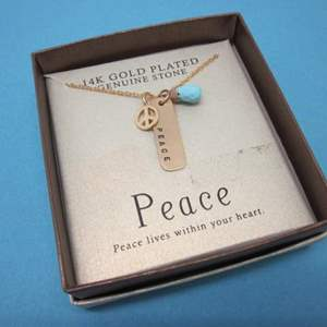 Lot # 4 - 14K Gold Plated Genuine Stone Necklace  PEACE