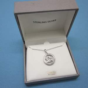 Lot # 6 - Sterling Silver Necklace with Angel Pendant and Diamond Accent