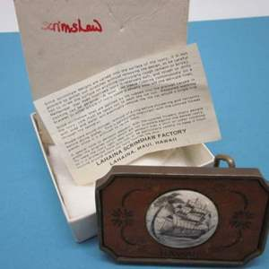 Lot # 8 - Maui Crafted, Scrimshaw Solid Brass, Vintage Belt Buckle. Made in USA