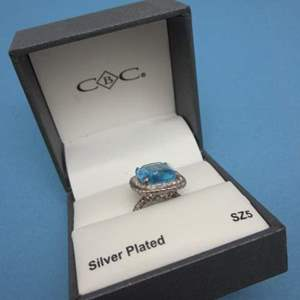 Lot # 9 - Silver Plated, Blue Stone, Diamond Looking Accents