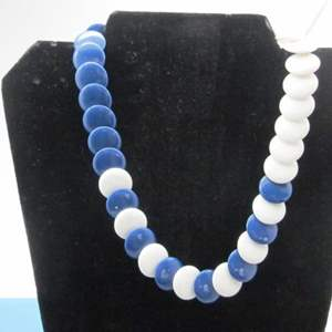 Lot # 12 - Beautiful Vintage Necklace, Disc Shaped, Blue & White